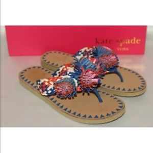 New! Kate spade blue multi leather flower thong